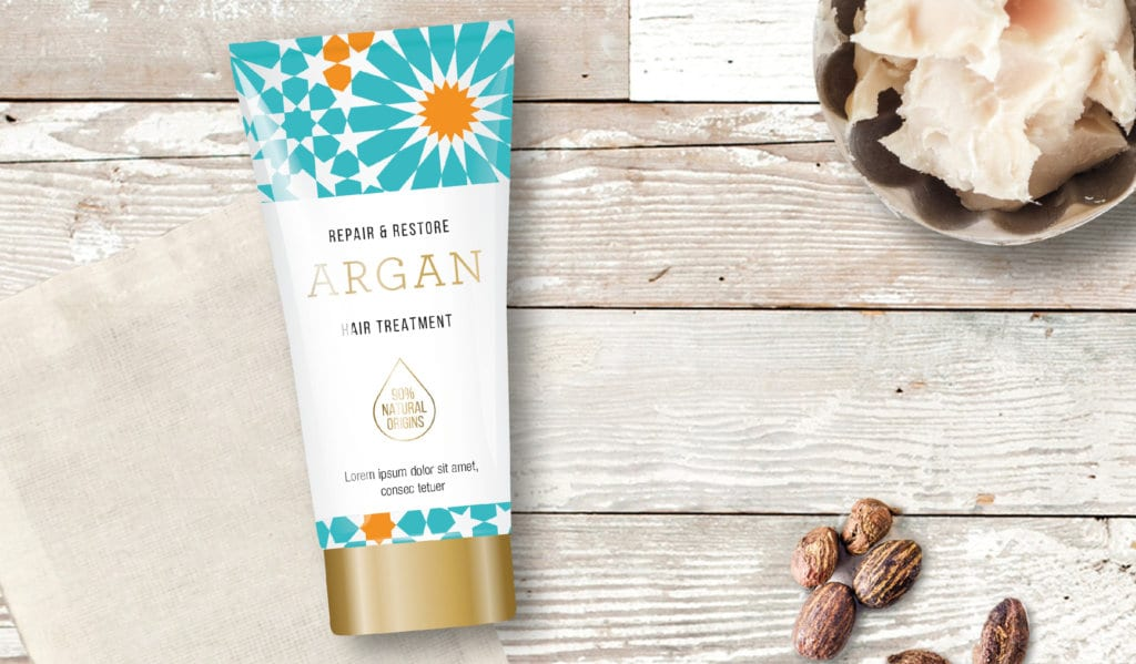 argan oil hair treatment product design